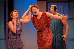 Delia MacDougall as Hermia, Stacy Ross as Helena, and Dodds Delzell as Snug