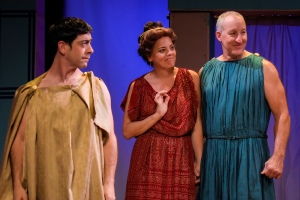 Gendell Hing-Hernandez as Theseus, Stacy Ross as Helena, and Dodds Delzell as Snug